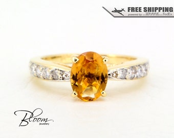 Citrine Diamond Ring 18K Yellow Gold Ring Real Citrine Ring Solid Gold Citrine Ring Natural Diamonds Citrine Gold Ring Vintage Style Ring