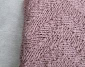 Hand Knit Cotton Chevron Blanket  ∙ Living Room Throw ∙ Baby Blanket