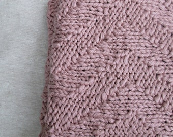 Hand Knit Cotton Chevron Blanket  ∙ Living Room Throw ∙ Baby Blanket