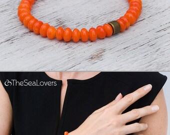 Orange coral bracelet Stunning gemstone bracelet Tangerine coral bracelet Genuine coral beads Tiny coral jewelry Minimalist / 6mm beads