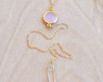 Rose Quartz Gold Lariat Necklace, 14K Gold Gemstone Lariat Necklace, Pink Lariat Necklace, Gold and Quartz Lariat Necklace