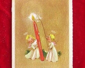 1940's Tiny Angels and Candle Christmas Greeting Card Art Deco Font
