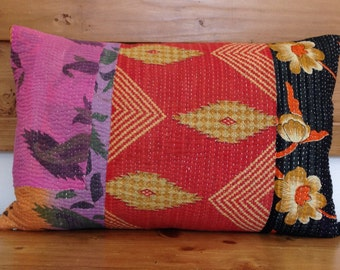 "Vintage Indian Kantha Quilt Pillow Cover, 14"" x 20"", Handmade, Lumbar, Ethnic, Bohemian"