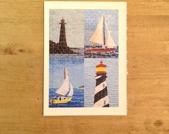 Nautical Mosaic Greeting Cards (Set of 4)