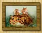 Giclee, 8x10in, А5, А4,  Watercolor PRINT,  ginger cat and the chipmunks ,  Art Print