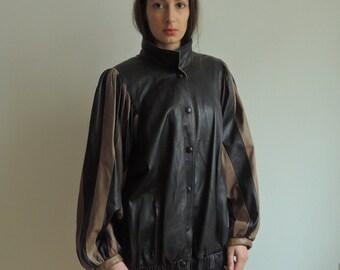 Vintage Leather Jacket/ 80s Womens Leather Jacket/ Vintage Striped Jacket