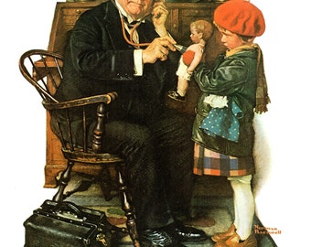 The Doctor and the Doll Saturday Evening Post cover from March 1929 painted by Norman Rockwell