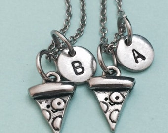 Best friend necklace, pizza necklace, food necklace, bff necklace, sister, friendship jewelry, personalized, initial, monogram