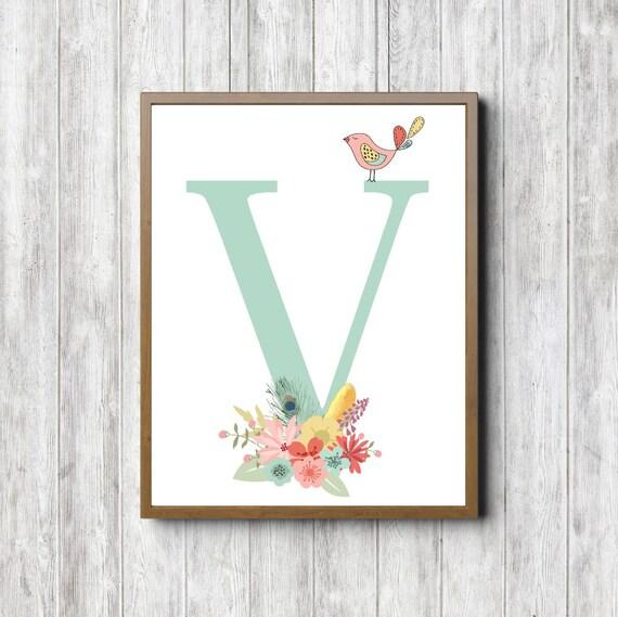 Wall Decor Letter V : V monogram printable wall art letter girls room nursery