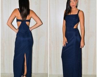 Navy Maxi Dress Long Blue Dress Cutout Maxi Dress Vintage 90's Modern Long Dress Size 11 Medium Stretchy Maxi Summer Side Cut-outs Long Maxi