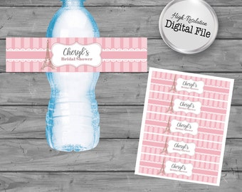 Personalized Water Labels, Paris Theme, Bridal Shower, Baby Shower, Wedding, Birthday, Digital File