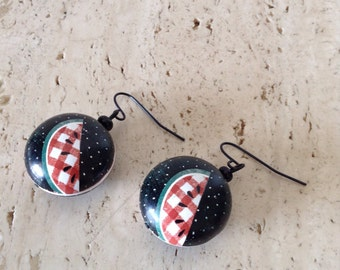 Vintage style Pin-Up dangle earrings. Watermelon makes everyone smile.