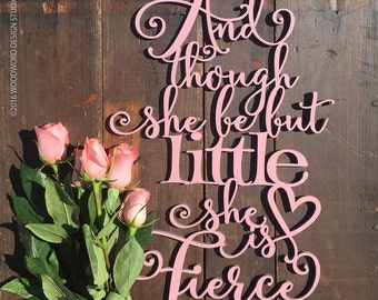 Nursery Wood Words | Cursive Font Cutout | Baby Room Wall Art | Though She Be Quote