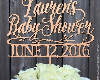Baby Shower Cake Topper with Date,  Rustic Cake Topper, Custom Cake Topper, Personalized and Quality Heirloom