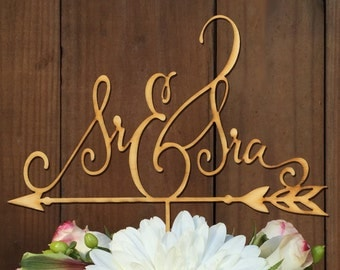 Sr & Sra, Spanish Wedding Cake Topper, Mr and Mrs, Spanish Mr and Mrs Cake topper, laser cut words