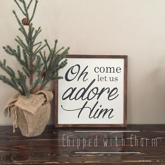 Oh Come Let Us Adore Him Wood Signs Christmas Signs Wood: Items Similar To Oh Come Let Us Adore Him Sign, Christmas