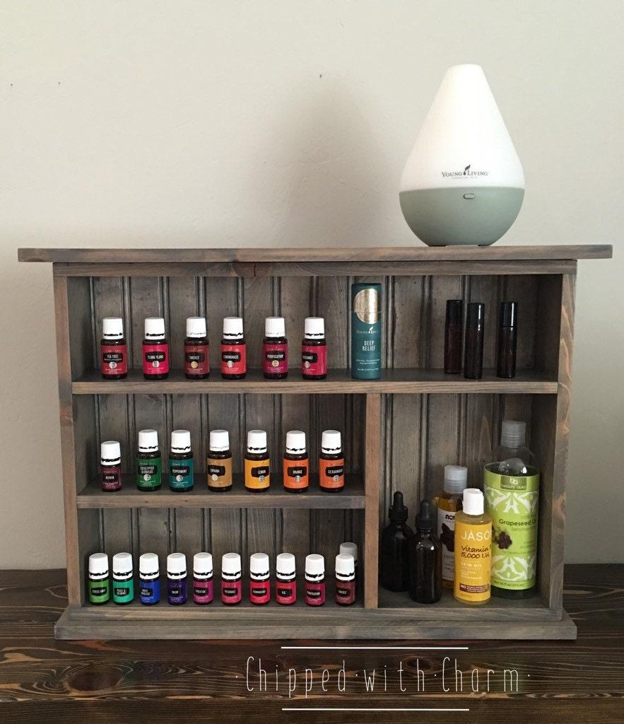 Essential Oil Storage Shelf Grey Wall