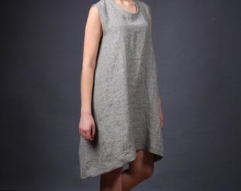 Comfortable linen tunic, Linen sleeveless dress, Loose kimono dress, Linen tunic dress, Long linen blouse, Washed linen blouse, Linen tunic