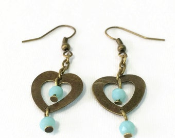 Bronze Heart Dangle Earrings - Heart Shaped Earrings - Heart Earrings - Bronze Earrings - Boho Dangle Earrings - Girls Heart Earrings