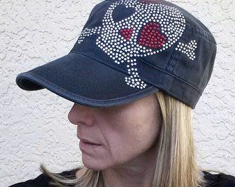 Gasparilla Pirate Skull and Crossbones Girly Black Cadet Hat Rhinestone Bling Tampa