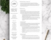 Modern Resume Template | Resume Template for Word and Pages | 1, 2, 3 Page Resume Template | Instant Download Resume Template / CV Template