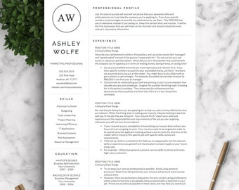 Modern Resume Template | Resume Template For Word And Pages | 1, 2, 3  Photo Resume Template