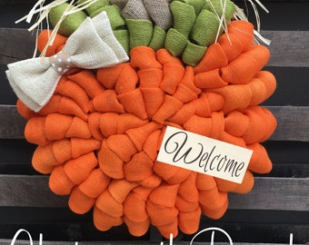 Pumpkin Burlap Wreath - Welcome Door Wreath -  Rustic Country Shabby Chic Thanksgiving Fall Autumn Harvest Halloween