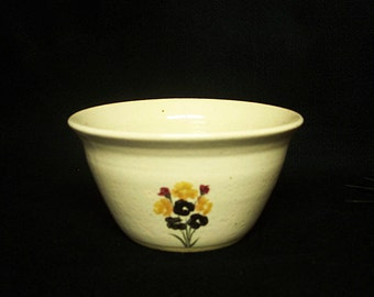 Soup or cereal bowl, stoneware pottery in a cream glaze with bouquet of Autumn flowers, 3.5x6.75x 7 inches