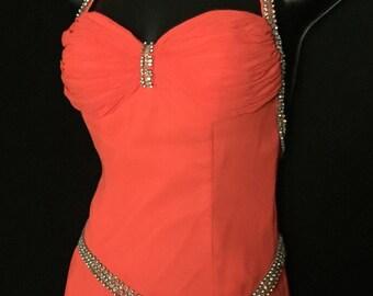 Tangerine Orange Chiffon and Rhinestone Halter Gown    VG234