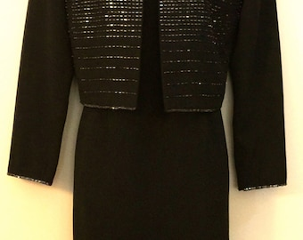 80's Black Dress with Beaded Crop Jacket                   VG136