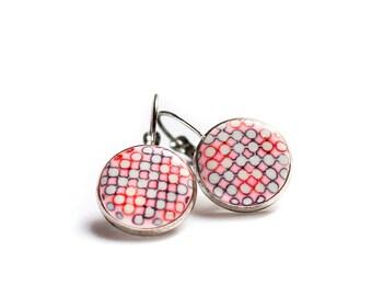 Pink earrings, Small dangle earrings, Modern earrings, Contemporary earrings, Drop earrings Dots earrings Geometric earrings Minimalist OOAK