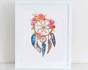 Dreamcatcher Art Print, Dreamcatcher Printable Wall Art, Instant Download,  Printable Home Decor, Digital Art Print, Tribal Art Print