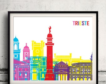 Trieste pop art skyline 8x10 in. to 12x16 in. Fine Art Print Glicee Poster Gift Illustration Pop Art Colorful Landmarks - SKU 1092