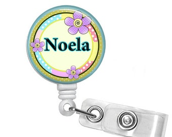 Personalized Circle of Flowers, Retractable ID Badge Reel (D_94)