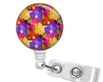 Color Burst Flowers, Retractable ID Badge Reel, Floral Print