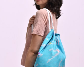Swimming pool's bag, duffle bag, pattern of swimmers on blue and turquoise water, Cotton and linen, Over shoulders, smart sport  bag