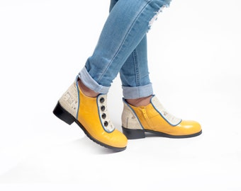 Vintage Style Yellow Women Winter Shoes, Flat Short Boots, Genuine Leather Shoes Women Leather Shoes, Leather Booties with Buttons Shoes