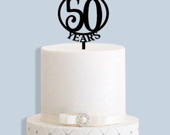Golden Wedding Anniversary Cake Topper 50 Years (available for any number)