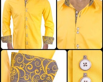 Bright Yellow with Gray Swirl Men's Designer Dress Shirt - Made To Order in USA