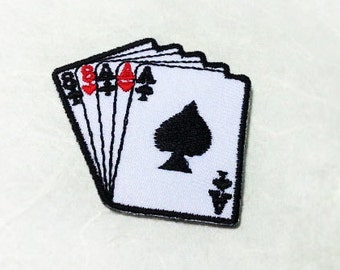 Poker Card Iron on Patch - Playing Card Applique Embroidered Iron on Patch-Size 4.5x4.2 cm