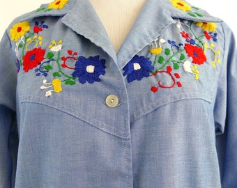 1970s Long-Sleeve Embroidered Mexican Chambray Blouse - Medium