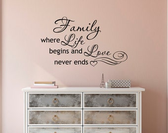 wall decal family art bedroom decor family wall decal quote family where life begins and love never end wall decal family vinyl lettering love wall art bedroom decor q039