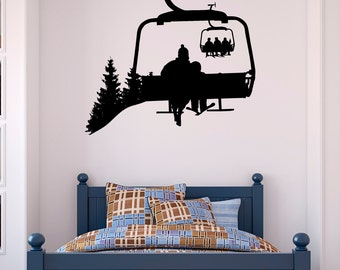 Ski Lift Wall Decal Skiers Decals Snowboard Winter Sport- Ski Lift Chair Wall Decal- Skiing Sports Decal Bedroom Kids Mountain Decor C130