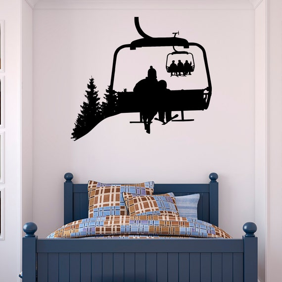 Ski lift wall decal skiers decals snowboard winter sport ski for Ski decorations for home