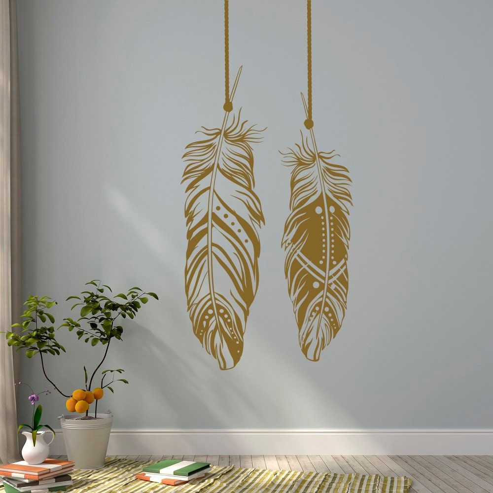 Wall Decorations Boho : Feathers wall decals tribal art boho bohemian decor