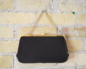 LA MARQUISE Vintage Small Black and Gold Top Clasp Evening Bag with Interior Pocket