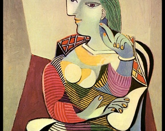 """Picasso,""""Frau im Sessel (Marie-Therese)"""", Circa 1937,  Pablo Picasso Print, Picasso Art Print, Picasso Paintings Vintage Book Page Print"""