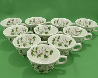 "80-90s Syracuse China ""Dogwood"" Coffee Cups Restaurant-ware Lot of 10  Made in USA  Scalloped Floral"