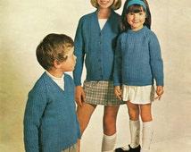"Children's Aran Knitting Pattern - Sweater and Cardigan - Vintage Style - 22-32"""