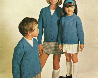 Children's Aran Knitting Pattern - Sweater and Cardigan - Vintage Style - 22-32""